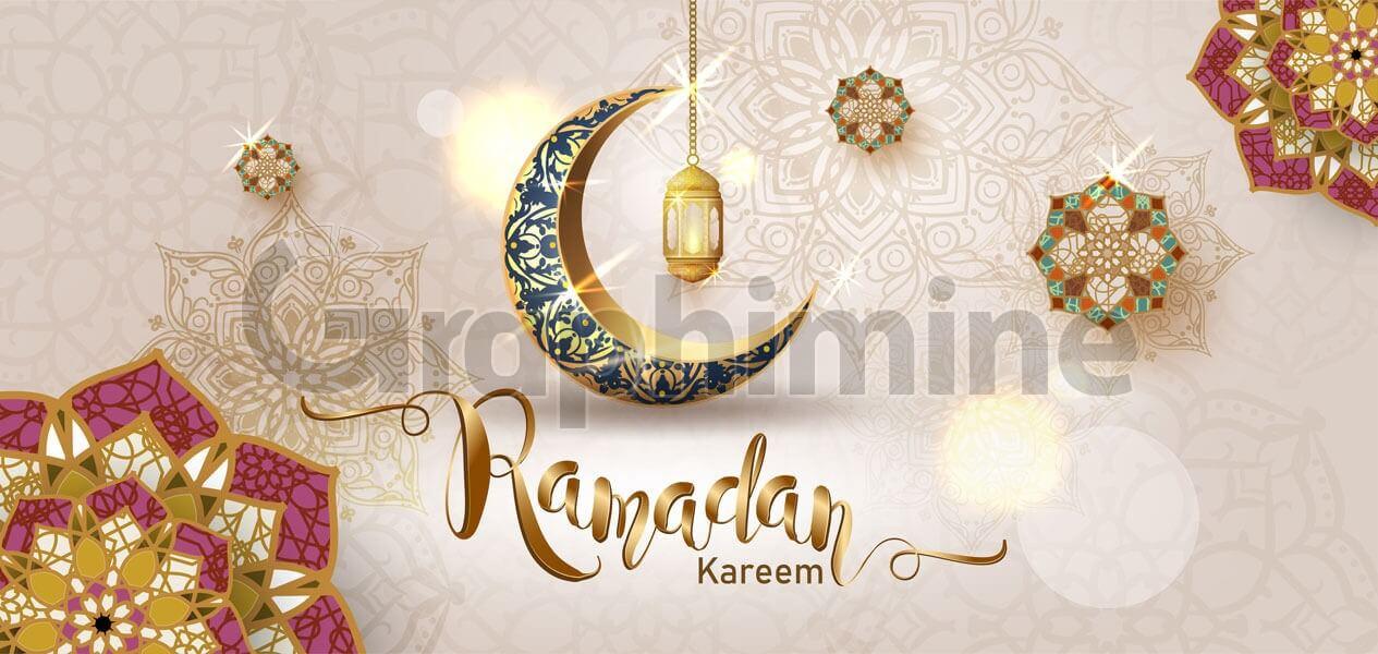 وکتور ماه رمضان هلال ماه طلایی سه بعدی