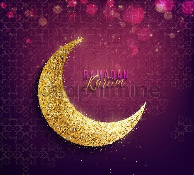 وکتور ماه رمضان هلال ماه طلایی