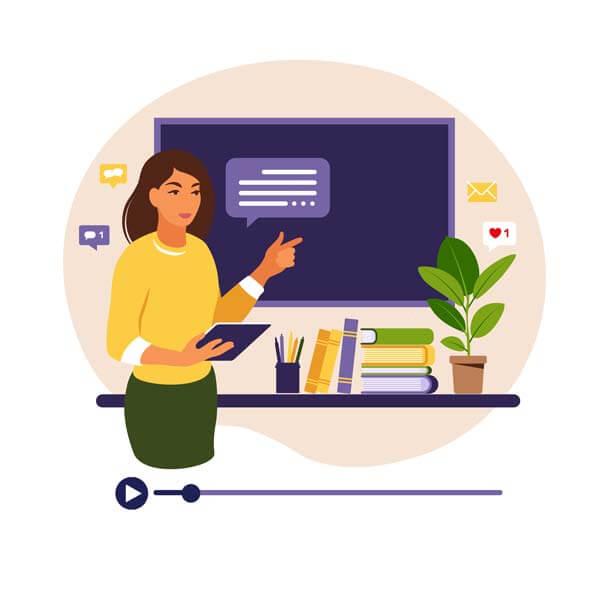 وکتور مدرسه آموزش آنلاین مجازی درس