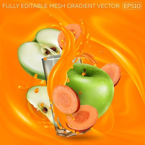وکتور میوه سیب سبز هویج آبمیوه