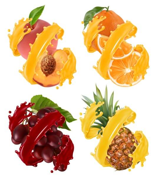 وکتور میوه پرتقال هلو آناناس انگور آبمیوه