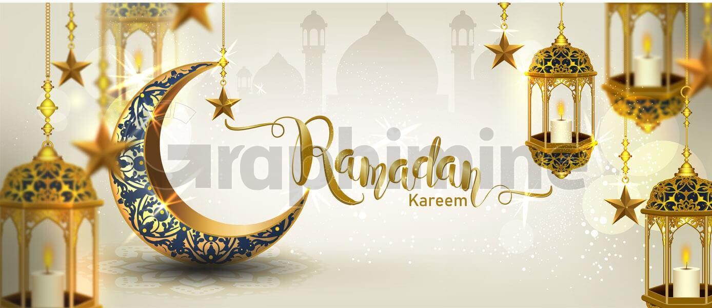 وکتور هلال طلایی ماه رمضان سه بعدی