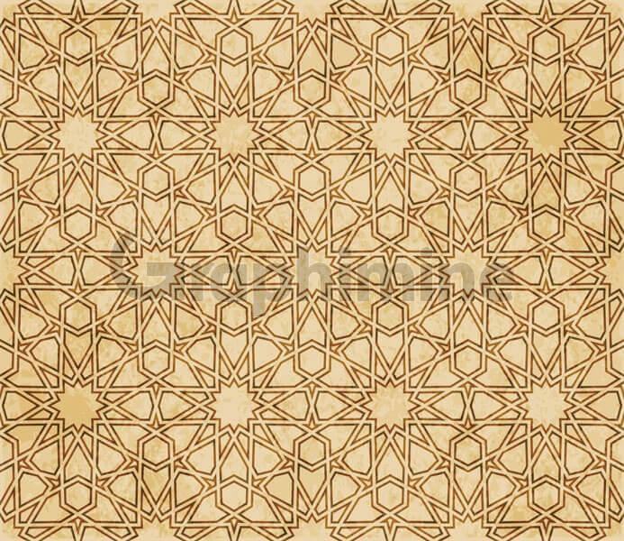 وکتور پترن اسلامی قهوه ای طرح شرقی هندسی