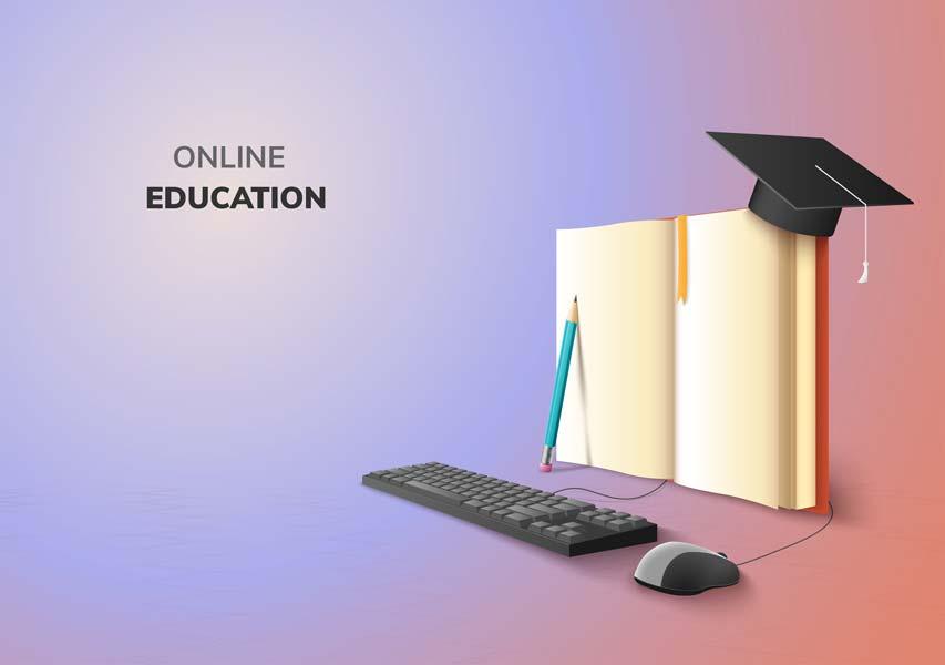 وکتور کتاب آموزش آنلاین تحصیل مجازی مدرسه