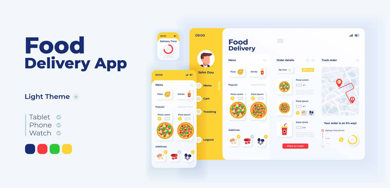 وکتور رابط کاربری UI اپلیکیشن موبایل وبسایت تحویل غذا