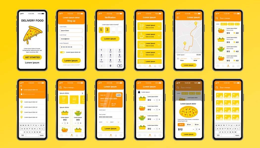 وکتور رابط کاربری UI UX اپلیکیشن موبایل تحویل غذا