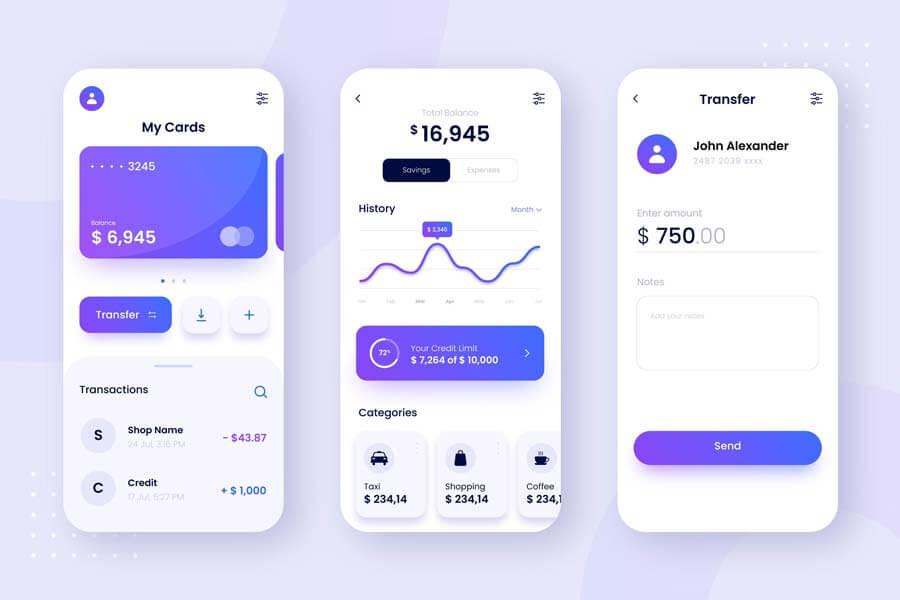 وکتور طرح رابط کاربری UI اپلیکیشن موبایل بانک
