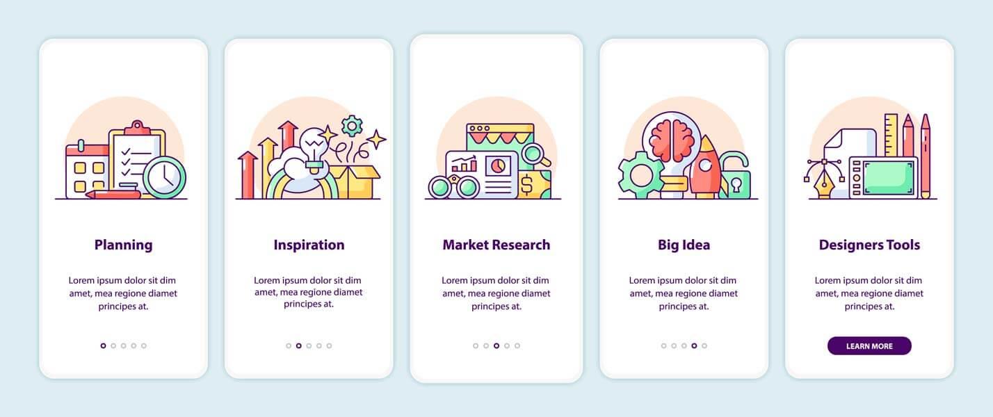 وکتور طرح رابط کاربری UI اپلیکیشن کارتونی وبسایت ایده خلاقیت