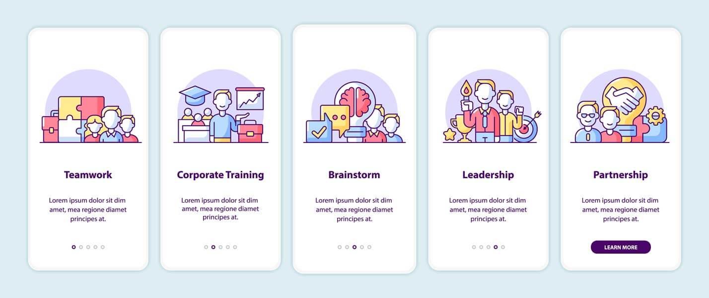 وکتور طرح رابط کاربری UI مرحله ای اصول کار شرکت