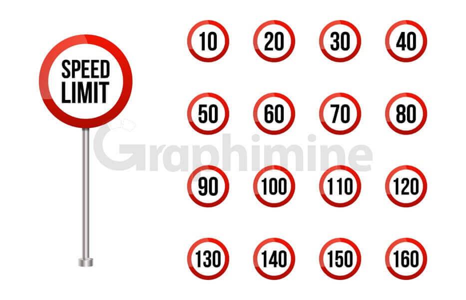 وکتور مجموعه تابلو محدودیت سرعت جاده ای