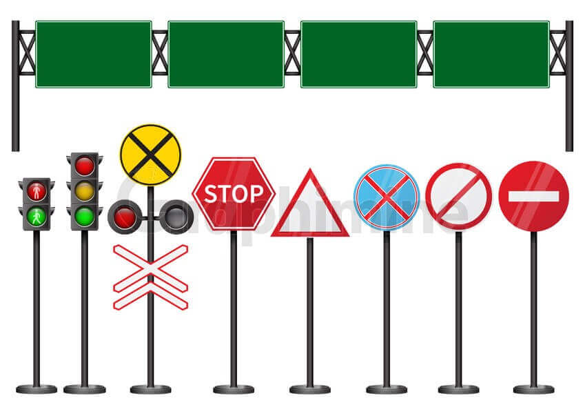 وکتور مجموعه تابلو های جاده ای چراغ راهنمایی