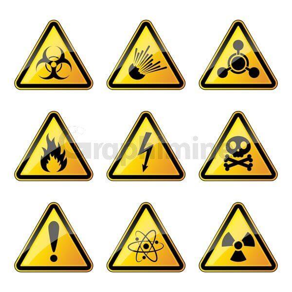 وکتور مجموعه تابلو های خطر هشدار زرد