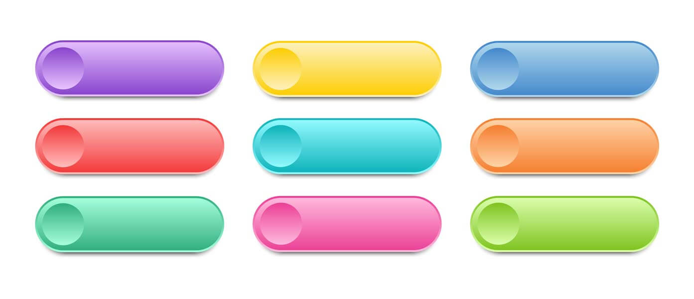 وکتور مجموعه قالب دکمه وبسایت رابط کاربری
