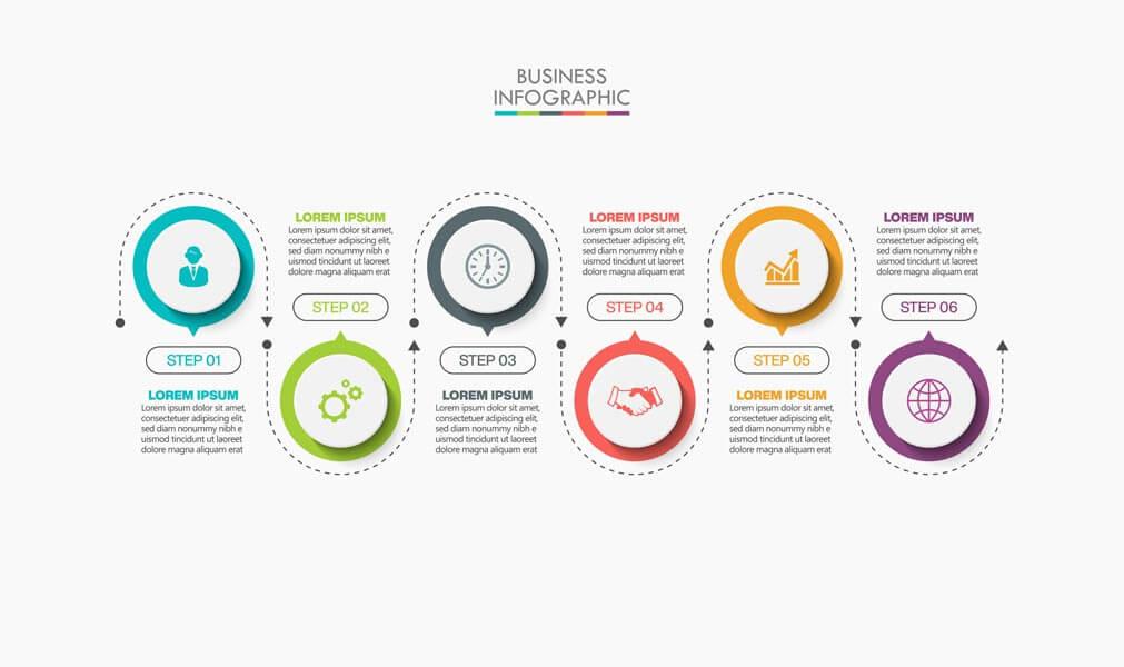 وکتور ارائه الگوی اینفوگرافیک تجاری گزینه ها
