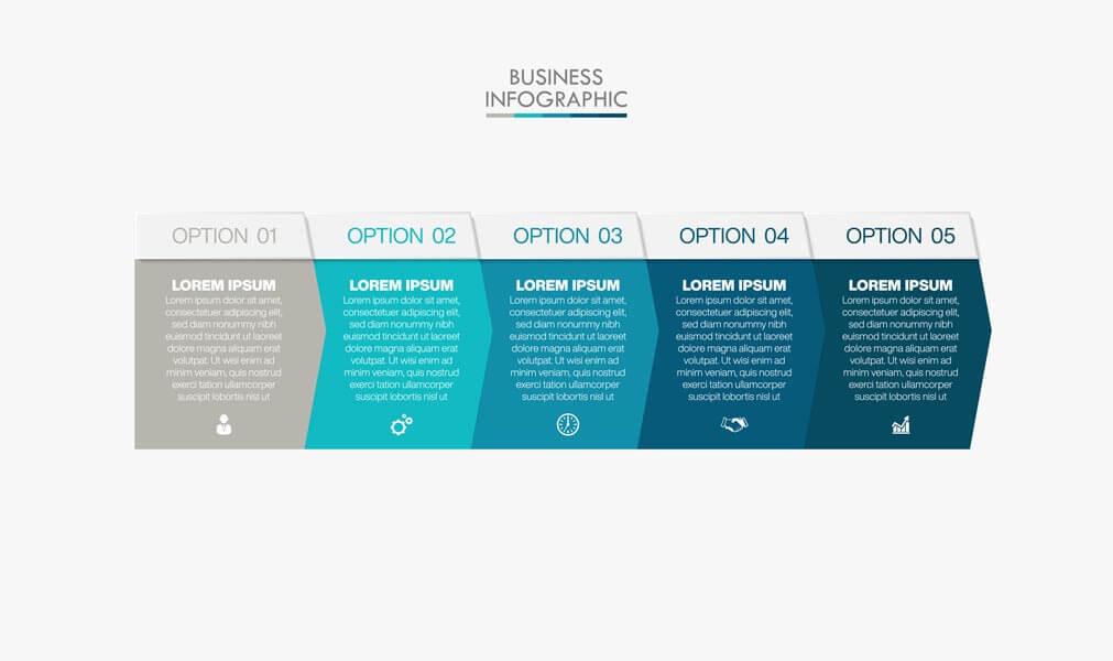 وکتور الگوی اینفوگرافیک تجاری ارائه گزینه ها