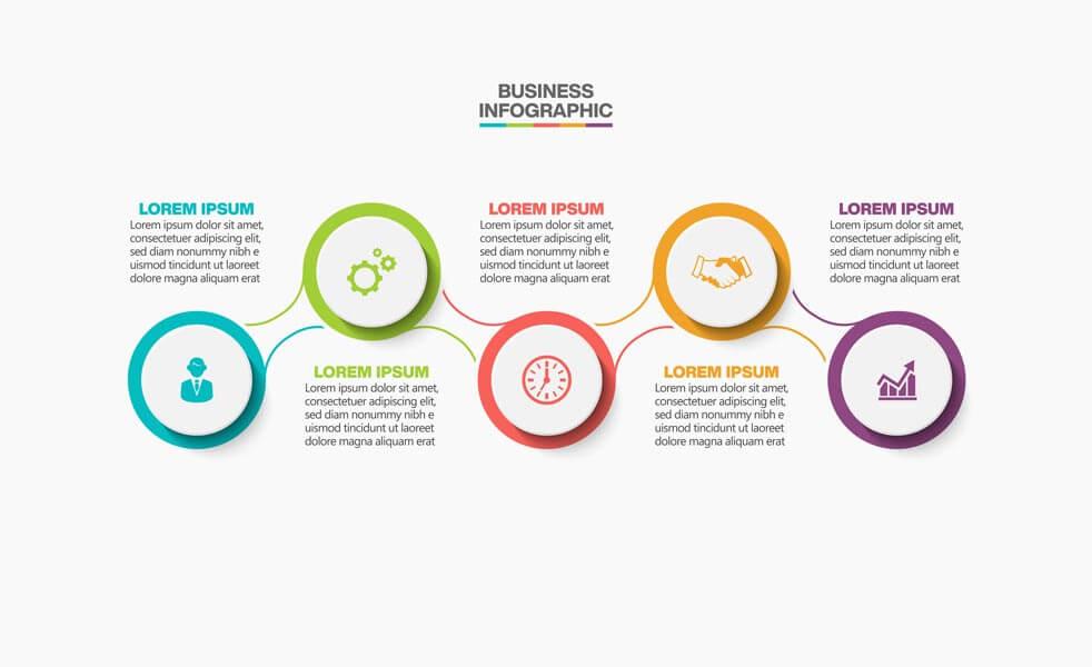 وکتور اینفوگرافیک تجاری الگو گزینه ها