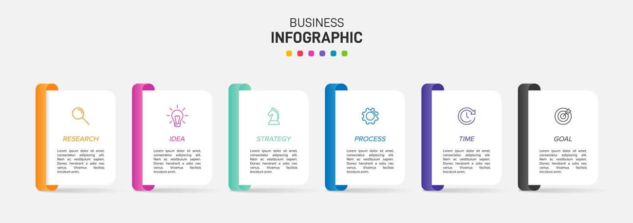 وکتور اینفوگرافیک گرافیک تجاری شش گزینه ای
