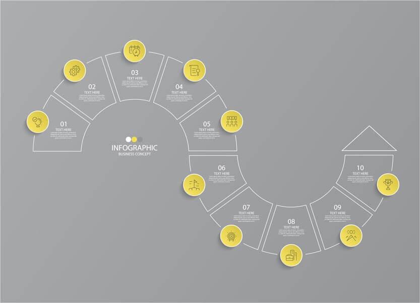 وکتور اینفوگرافیک گزینه ای مرحله ای زرد