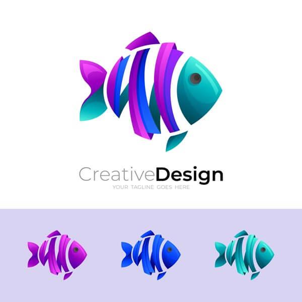 وکتور لوگو انتزاعی ماهی رنگارنگ