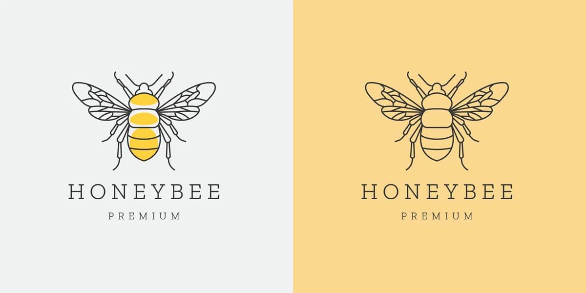 وکتور لوگو زنبور عسل خطی