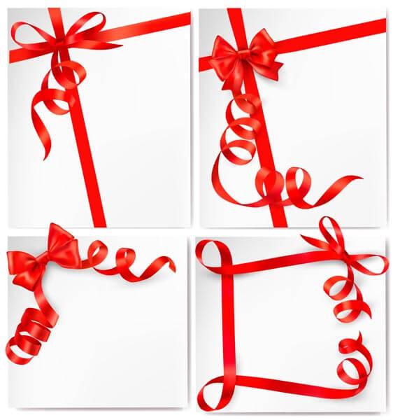 وکتور مجموعه روبان قرمز جعبه هدیه
