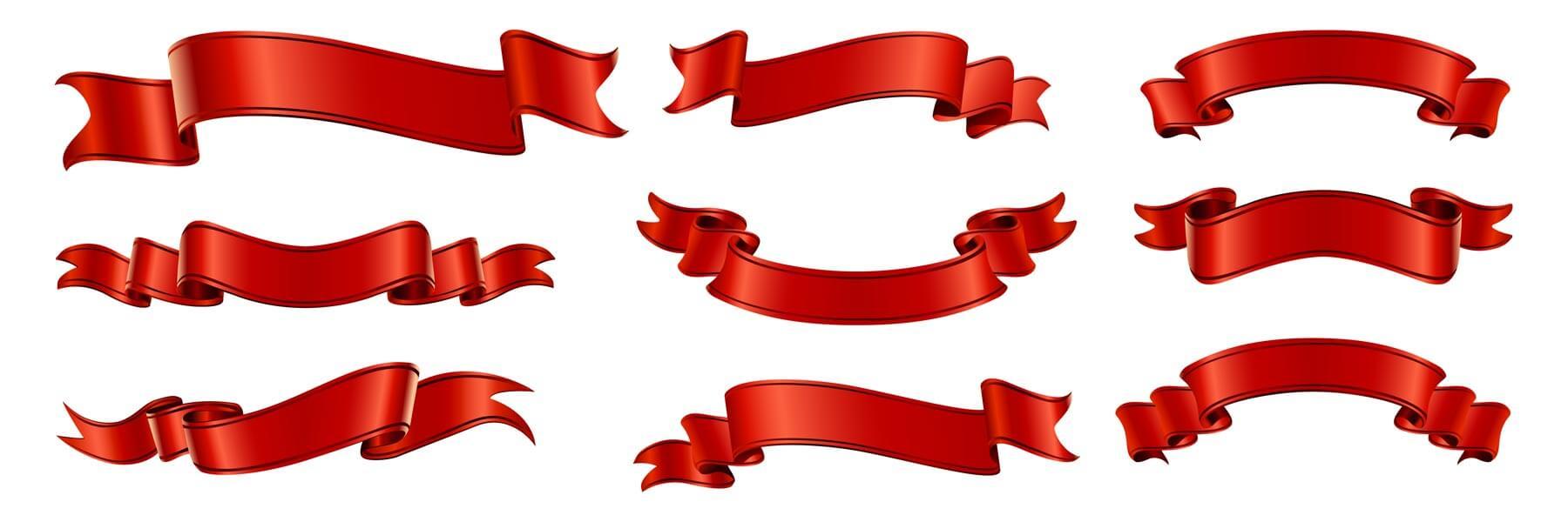 وکتور مجموعه روبان های قرمز عنوان
