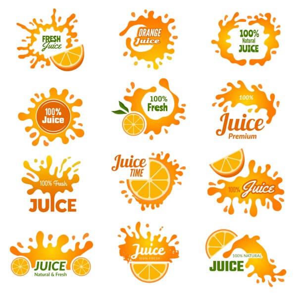 وکتور مجموعه لوگو نوشیدنی آبمیوه پرتقال