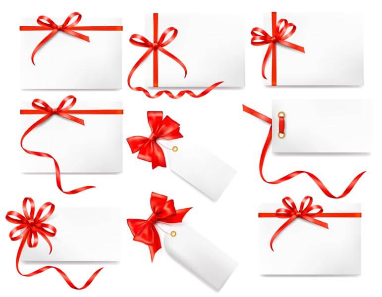 وکتور مجموعه کارت هدیه پاپیون روبان قرمز