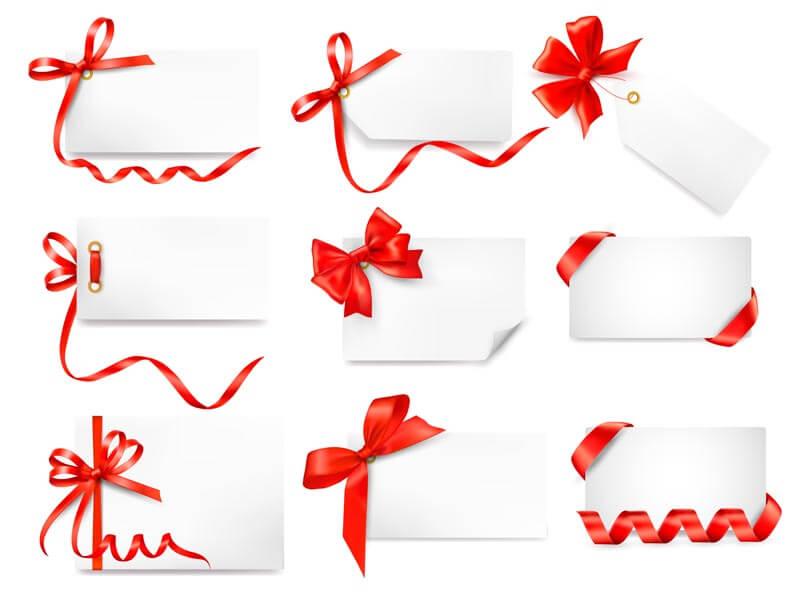 وکتور کارت های هدیه پاپیون روبان قرمز