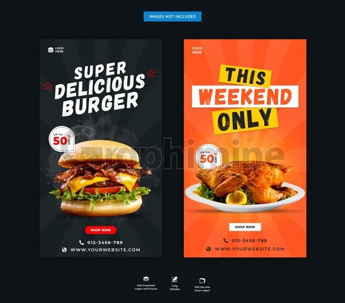 طرح لایه باز قالب استوری اینستاگرام فست فود رستوران غذا