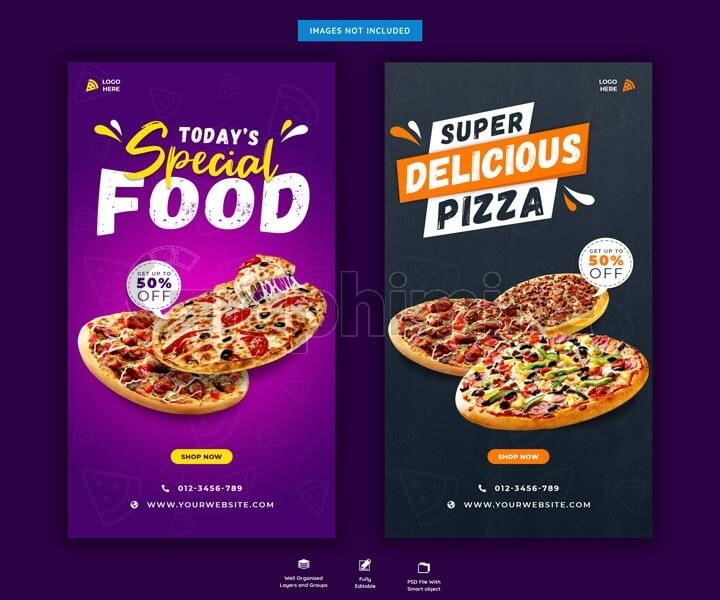طرح لایه باز قالب استوری اینستاگرام منو غذا فست فود پیتزا