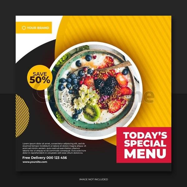 طرح لایه باز قالب بنر پست اینستاگرام غذا رستوران