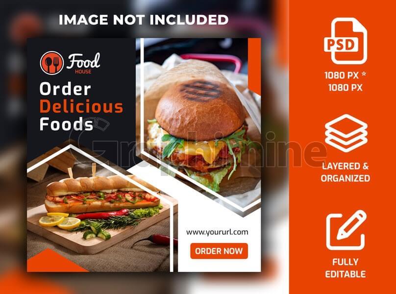طرح لایه باز قالب پست اینستاگرام بنر غذا رستوران فست فود