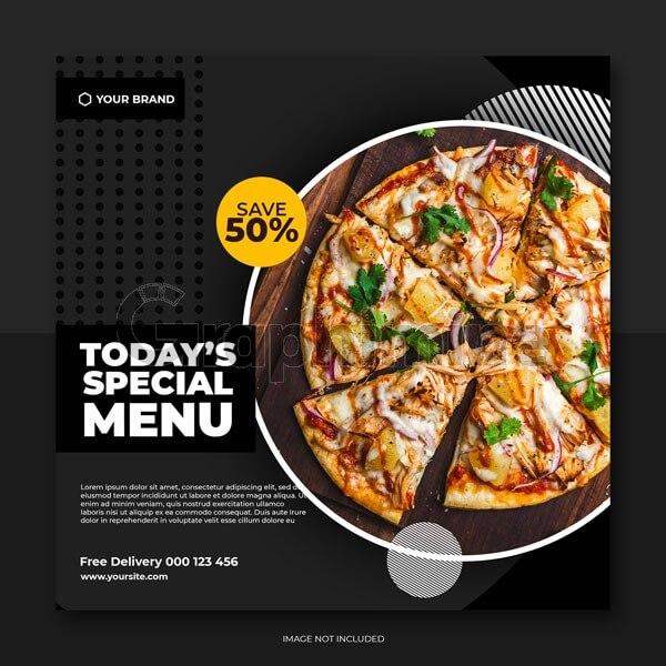 طرح لایه باز قالب پست اینستاگرام رستوران غذا