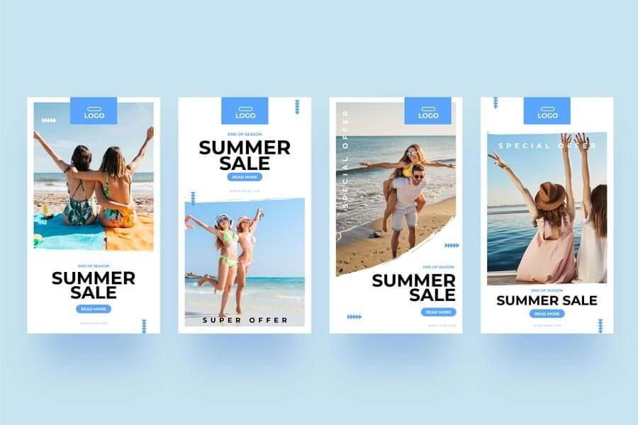 وکتور قالب استوری اینستاگرام فروش تابستانه آنلاین
