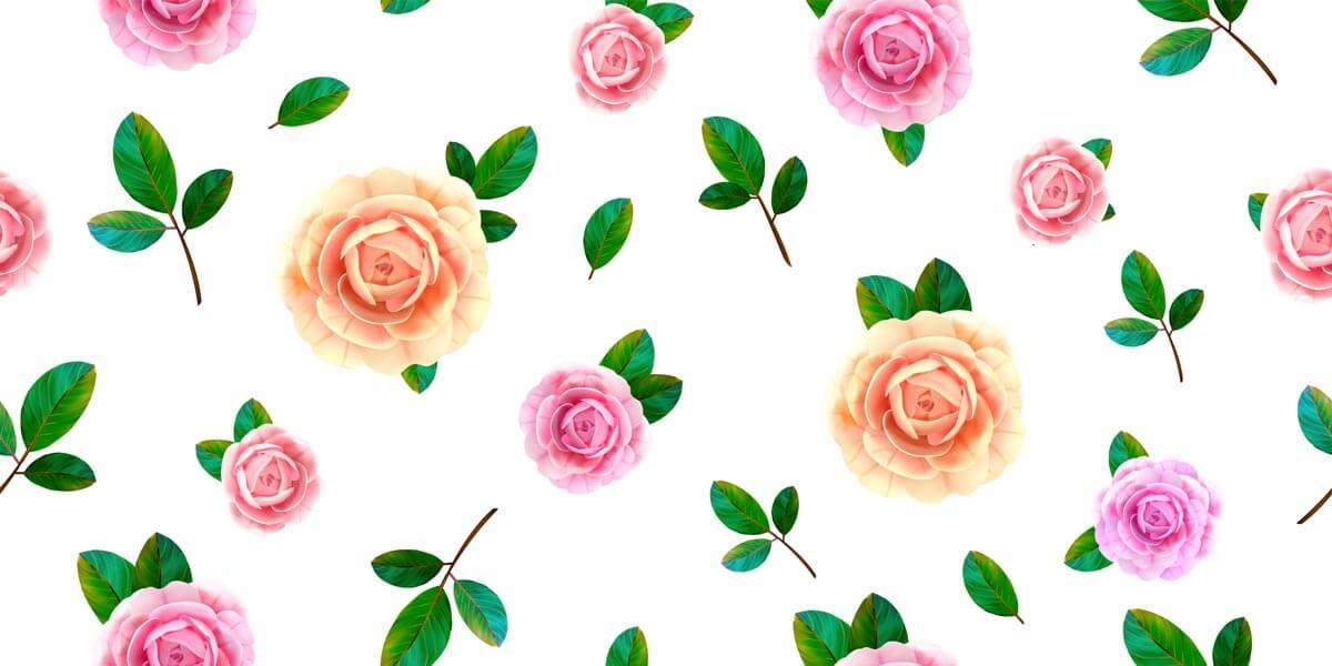وکتور پترن گل رز صورتی زرد برگ