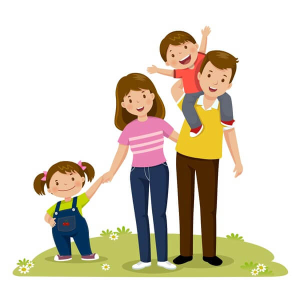 وکتور خانواده خوشحال پدر فرزندان