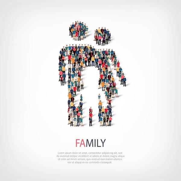 وکتور طرح انتزاعی نماد خانواده انسان