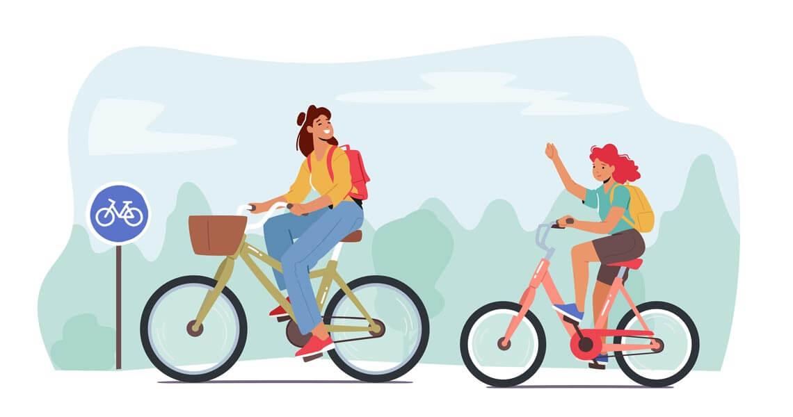 وکتور مادر فرزند دختر نوجوان دوچرخه سواری