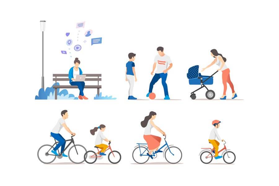 وکتور مردم پارک فعالیت آخر هفته دوچرخه سواری بازی