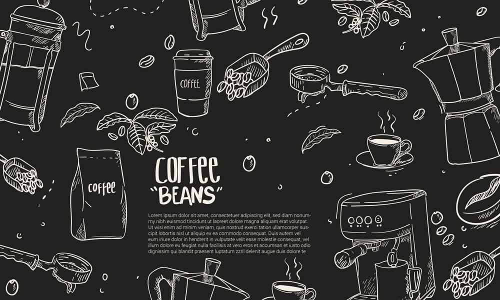 وکتور پس زمینه قهوه و قهوه جوش اسپرسو دست کشیده