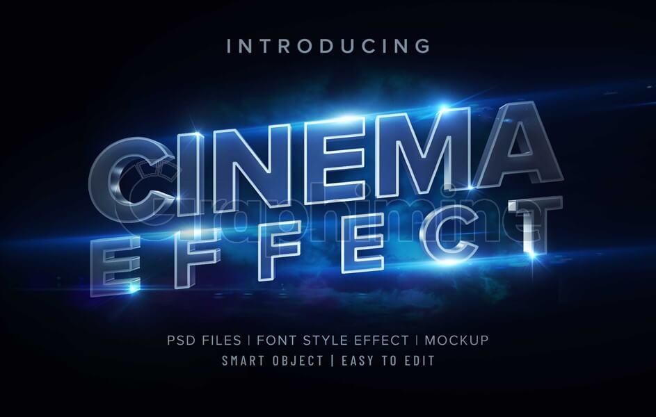 افکت آماده فتوشاپ استایل سه بعدی سینمایی متن