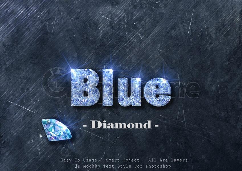 افکت آماده فتوشاپ استایل سه بعدی متن الماس آبی