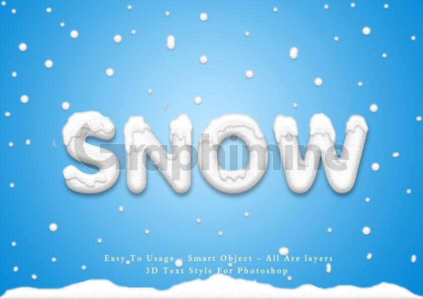 افکت آماده فتوشاپ استایل متن سه بعدی برف