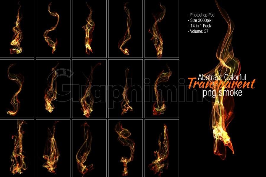 افکت آماده فتوشاپ شعله آتش دود انتزاعی