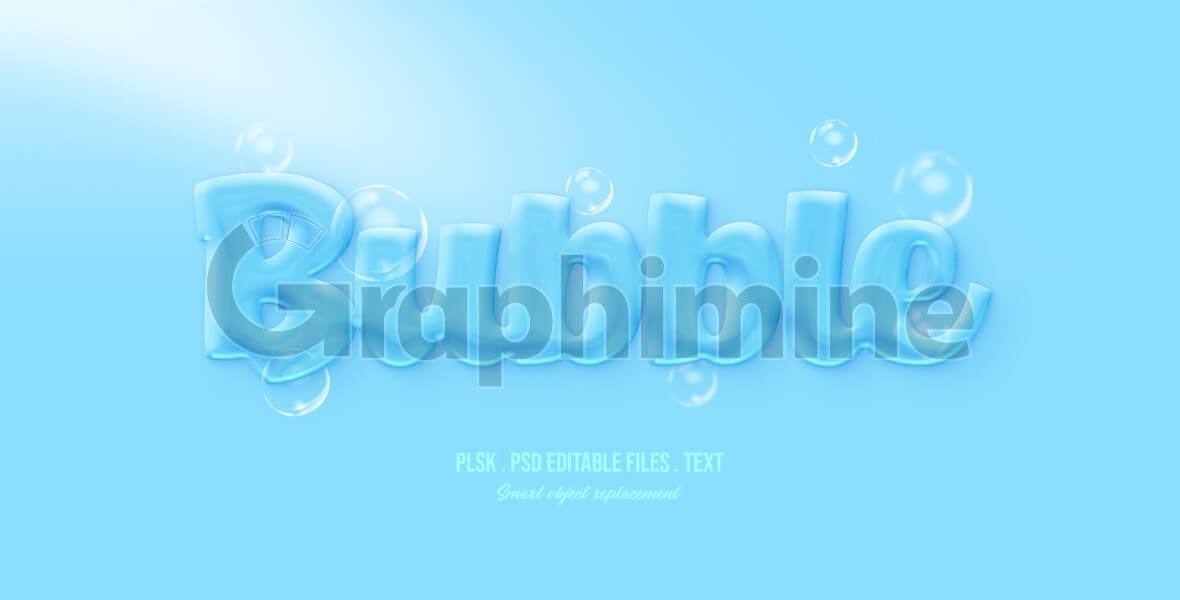 افکت آماده فتوشاپ متن سه بعدی حباب آبی