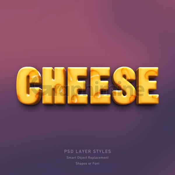 افکت آماده فتوشاپ متن سه بعدی پنیری