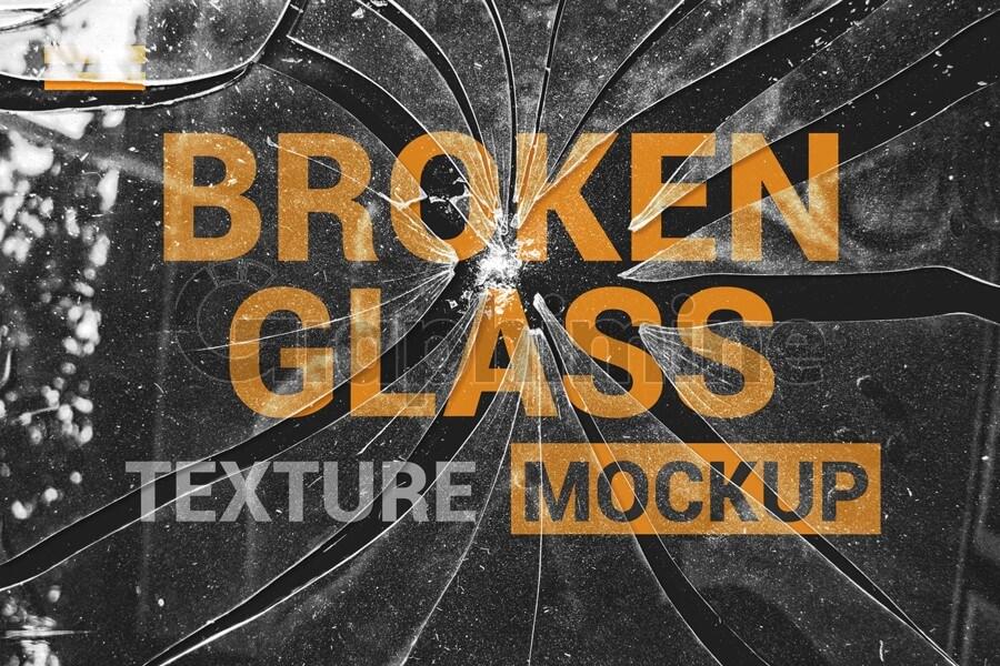 افکت آماده فتوشاپ موکاپ شیشه شکسته