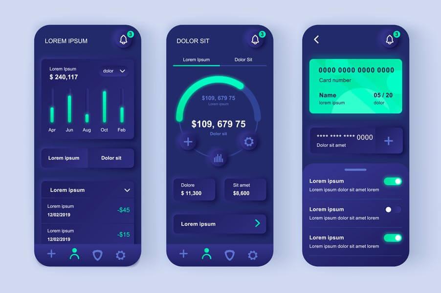 وکتور رابط کاربری UI اپلیکیشن حسابداری مالی
