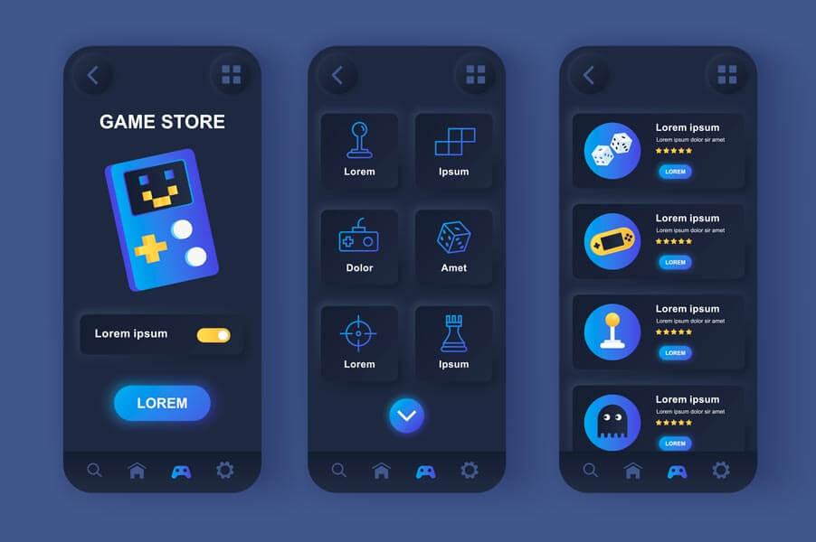 وکتور رابط کاربری UI اپلیکیشن فروشگاه بازی گیم